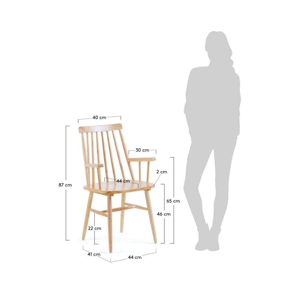 Silla vittyd con brazos madera natural for Sillas comedor madera con brazos