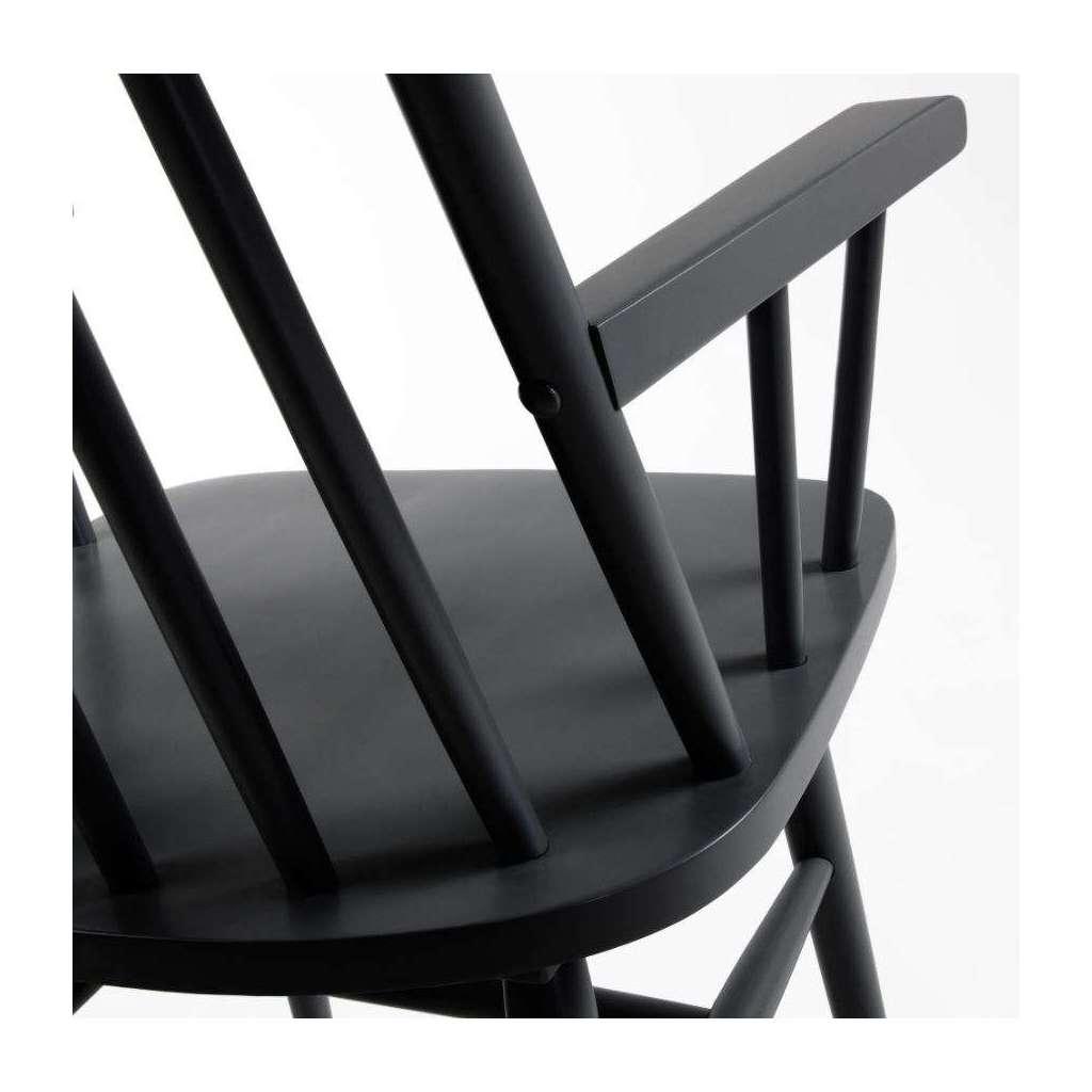 Silla vittyd con brazos madera negro for Sillas comedor madera con brazos