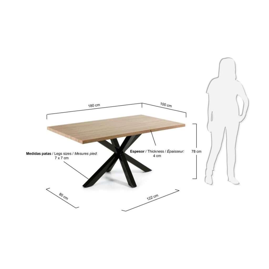 Mesa de comedor luft 180x100cm madera natural pies for Mesas de comedor madera natural