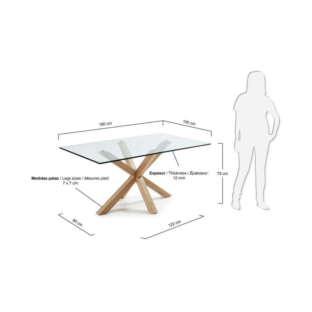 Mesa de comedor luft 180x100cm de cristal pies madera - Mesas de comedor de cristal de diseno ...
