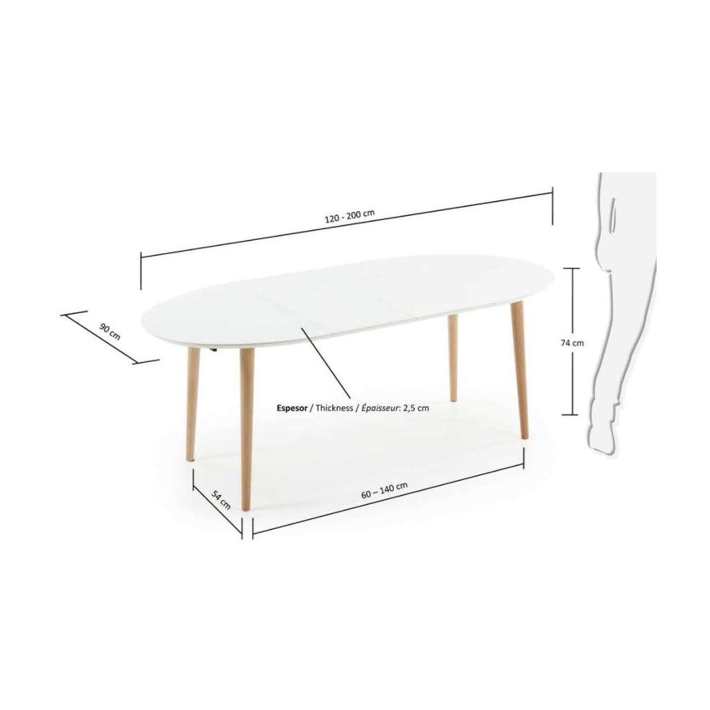 Mesa de Comedor Extensible Oval NORSK 120(200)x90cm Blanco, Mesa ...