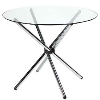 Mesa de Comedor Redonda 90cm Cristal Transparente