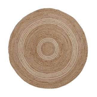Alfombra SAHTE yute redonda 100 natural y gris claro