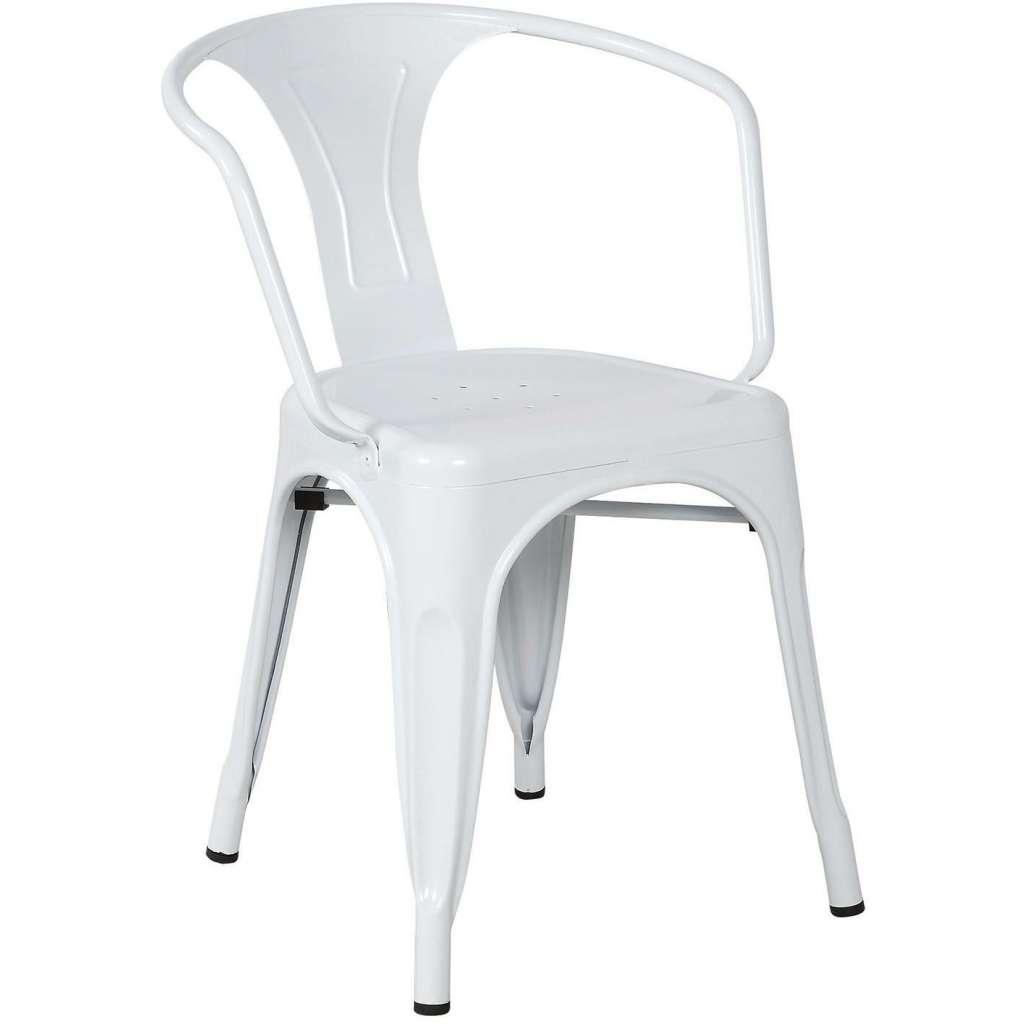 Silla tolix con brazos blanco for Sillas modernas con brazos