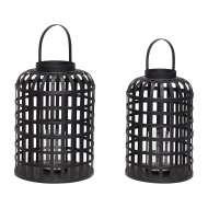 Set 2 Farolas NÅTTEL, Bambú Negro - Hübsch. Las exclusivas lámparas de diseño nórdico de Hübsch en Vackart, tu tienda de diseño online.