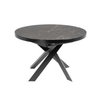 Mesa Vashti Ø 120 (160) cm porcelánico/acero negro - CC5176K01