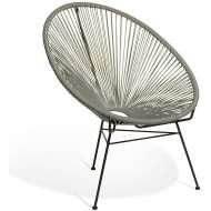 Elegante silla de diseño Acapulco gris claro, ideal para interior y exterior, famosa silla icono del diseño de gran comodidad y mucha personalidad