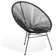 Elegante silla de diseño Acapulco negra, ideal para interior y exterior, famosa silla icono del diseño de gran comodidad y mucha personalidad