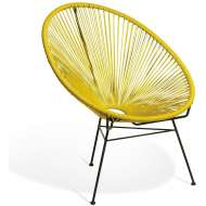 Elegante silla de diseño Acapulco amarilla, ideal para interior y exterior, famosa silla icono del diseño de gran comodidad y mucha personalidad