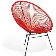 Elegante silla de diseño Acapulco roja, ideal para interior y exterior, famosa silla icono del diseño de gran comodidad y mucha personalidad