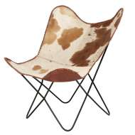 Silla Butterfly FLERHUD, Piel Blanca - Marrón / Metal - Vackart. La más exclusiva selección de sillas de diseño nórdico en Vackart, tu tienda de diseño online.