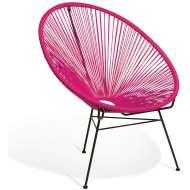 Elegante silla de diseño Acapulco fucsia, ideal para interior y exterior, famosa silla icono del diseño de gran comodidad y mucha personalidad