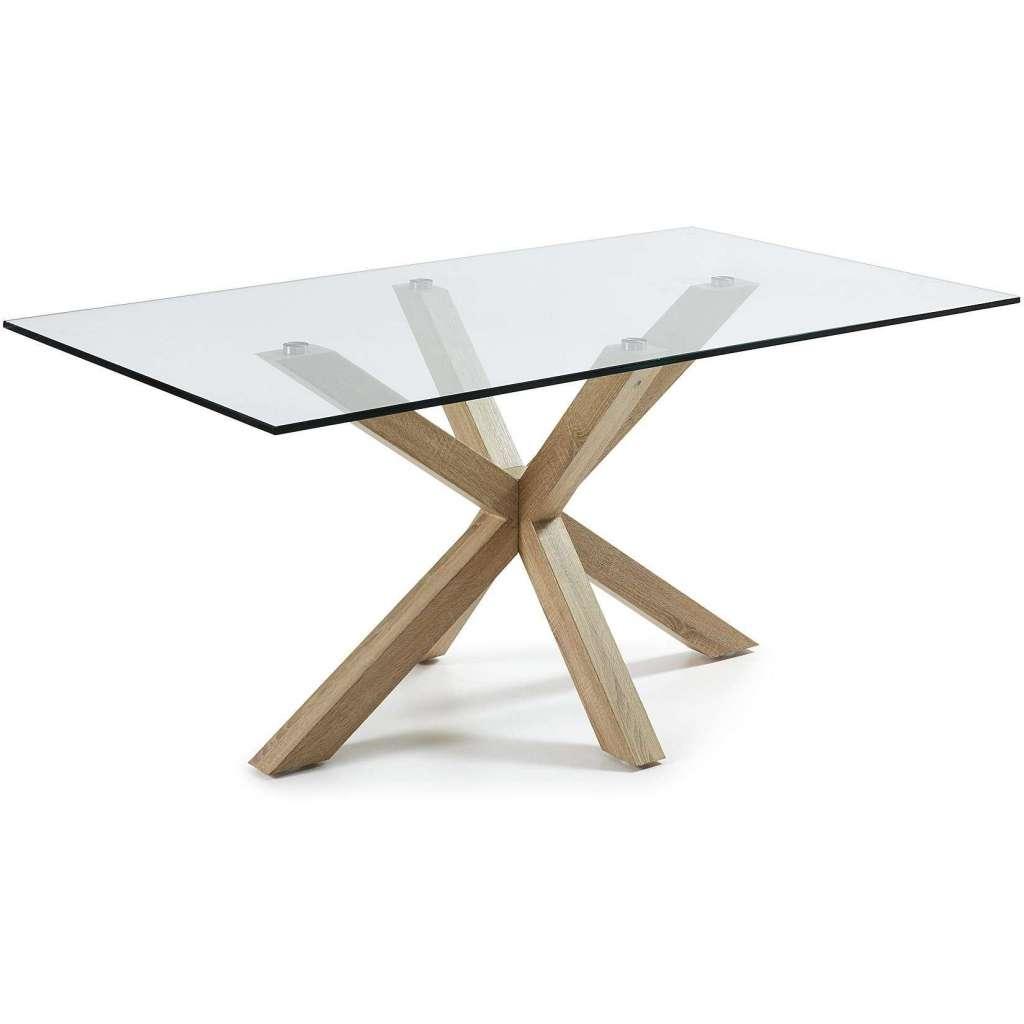 Mesa de comedor luft 180x100cm de cristal pies madera for Mesas de comedor cristal y madera