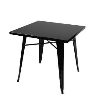 Mesa 80x80cm de Comedor Cuadrada Negro, Inspiración Tolix